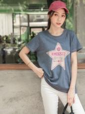 台灣製造.星星英文印圖配色車線點綴短袖上衣/T恤