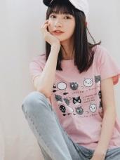 高含棉可愛貓咪印圖短袖T恤