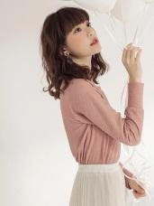 純色高彈立體布紋長袖上衣