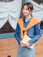 高含棉單口袋造型配色格紋長袖襯衫