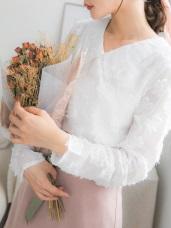 微透膚翻領造型立體燒花長袖上衣