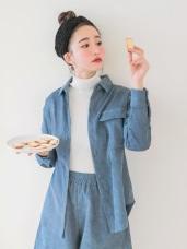 質感燈芯絨圓弧下襬純色長袖襯衫