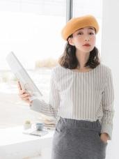 高含棉圓領配色雙條紋設計波浪下襬長袖上衣