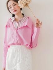 高含棉條紋襯衫拼接寬版假兩件長袖上衣