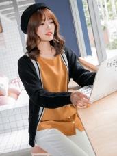 襯衫拼擺X蝴蝶結造型口袋素色皺面上衣.2色