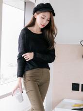 層次鏤空連帽連袖單色長版仿針織毛衣.5色
