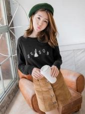 素色字母刺繡流蘇綴飾造型棉感上衣.2色