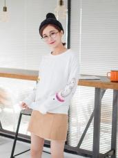 素色手臂數字刺繡設計羅紋滾邊棉感上衣.2色