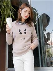 素色貓咪字母印花羅紋滾邊內刷毛上衣.2色