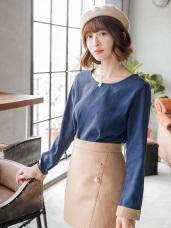 撞色反摺袖設計磨毛質感長版上衣.2色