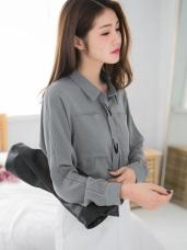素色花朵刺繡蕾絲造型雙口袋設計雪紡襯衫.2色