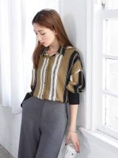 配色寬直條紋落肩雪紡寬鬆襯衫.2色
