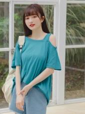 不對稱挖肩造型高棉短袖長版寬鬆上衣