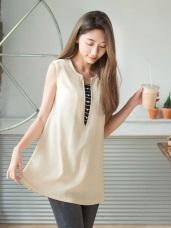 前襟拼接條紋綴珍珠後背排釦傘襬長版背心上衣.2色