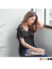 素面V領棉感鏤空蕾絲造型柔軟寬鬆上衣.6色