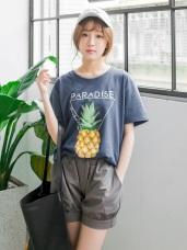素色立體鳳梨燙印高棉量圓領上衣.2色