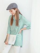 素色打褶開襟側襬開衩造型七分袖長版襯衫.2色