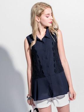 蕾絲拼接小傘襬造型襯衫領無袖雪紡上衣.2色