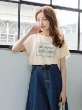 個性雙層色網狀字母印花袖口下襬微透膚長版上衣.2色