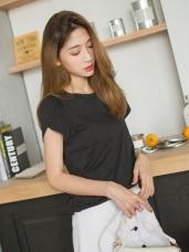 側襬抽皺拼接造型袖素面多色高含棉上衣.5色
