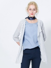 假兩件棉感素色x直條紋小外套寬鬆七分袖上衣.2色