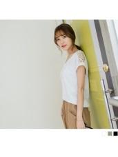 素色V領高棉量鏤空布蕾絲拼肩連袖上衣.3色