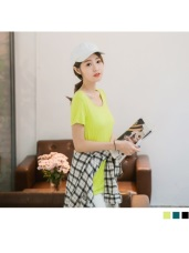 交叉鏤空美背設計純色柔料T恤.3色