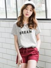 DREAM立體英文字母圖案高含棉橫條T恤.2色