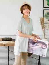 前短後長側襬開衩純色V領長版T恤.3色