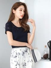 台灣製造.甜美雕花鏤空拼接立體織紋圓領上衣.4色