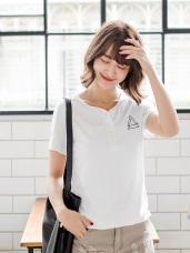 台灣製造.幾何刺繡前襟排釦純色竹節棉T恤.3色