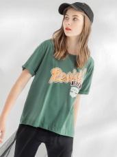 字母印花拼接紗襬造型圓領短袖寬鬆上衣.2色