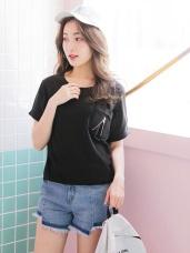 台灣製造.單邊拉鍊造型口袋反折連袖T恤.2色