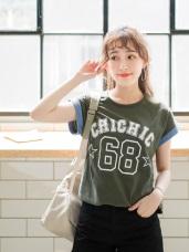 台灣製造.背號燙印拼色反折連袖高含棉T恤.2色