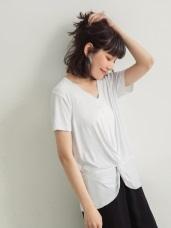舒適彈性涼感扭轉襬V領短袖上衣
