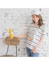 冰淇淋照片拼縫清爽橫條紋寬鬆落肩T恤.2色