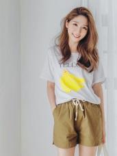 台灣製造.手繪感香蕉燙印純色高含棉T恤.2色