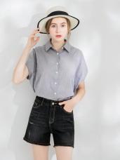 清新棉感飛鼠短袖寬鬆襯衫