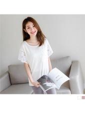 素色鏤空蕾絲緹花傘袖針織短袖上衣.2色