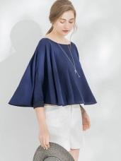 亮彩傘襬袖剪裁造型圓領上衣.3色