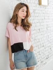 色塊拼接造型寬鬆連袖長版上衣.3色