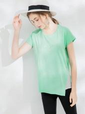 珠珠字母側襬透膚拼接圓領短袖寬鬆上衣.2色