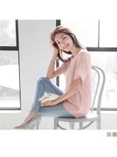 氣質透膚雪紡拼接緹花寬襬袖圓領上衣.2色