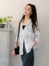微透膚拼色格紋高含棉前短後長開襟長上衣/罩衫