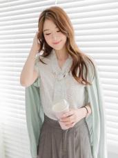 滿版點點金屬釦環領巾造型雪紡上衣.2色