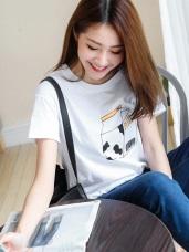 台灣製造.趣味牛奶燙印純色高含棉T恤.2色