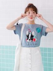 台灣製造.可愛法鬥燙印綴英文拼字高含棉上衣.2色