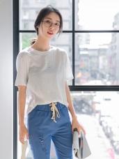 台灣製造.簡約英文拼字燙印高含棉上衣.2色