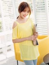 質感純色綴珍珠斜肩帶設計彈性上衣.3色