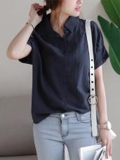 格紋布抓皺連袖造型排釦襯衫.2色